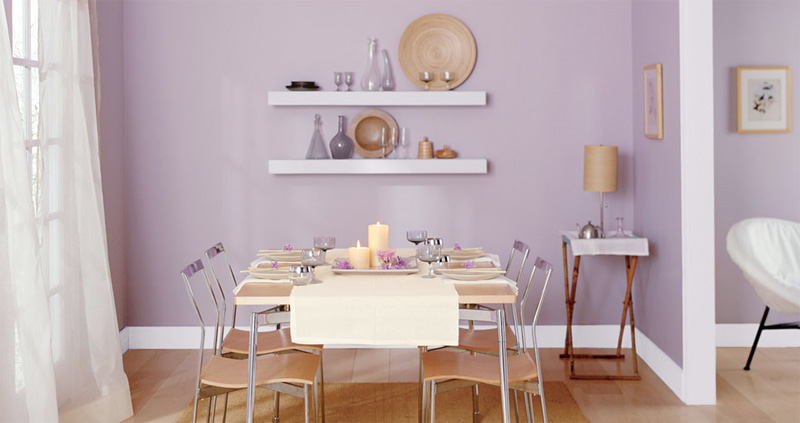 decoración con color violeta