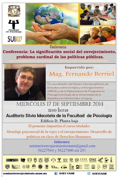 conferencia: La significación social del envejecimiento, problema cardinal de las políticas pública
