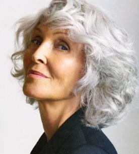 Grey hairstyle for older women over 60