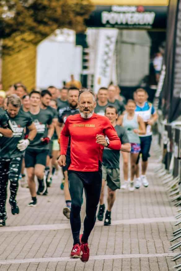 man running at marathon event