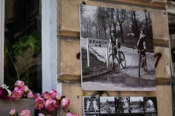 pink petaled flower beside grayscale photo of man and woman riding bicycle