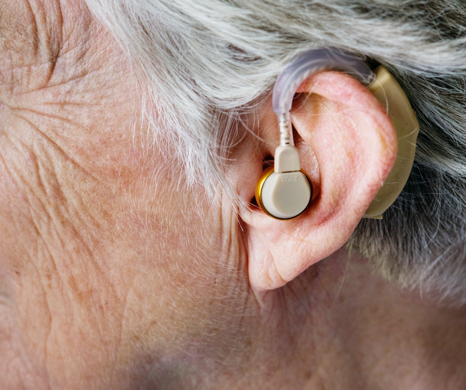 person wearing hearing aid