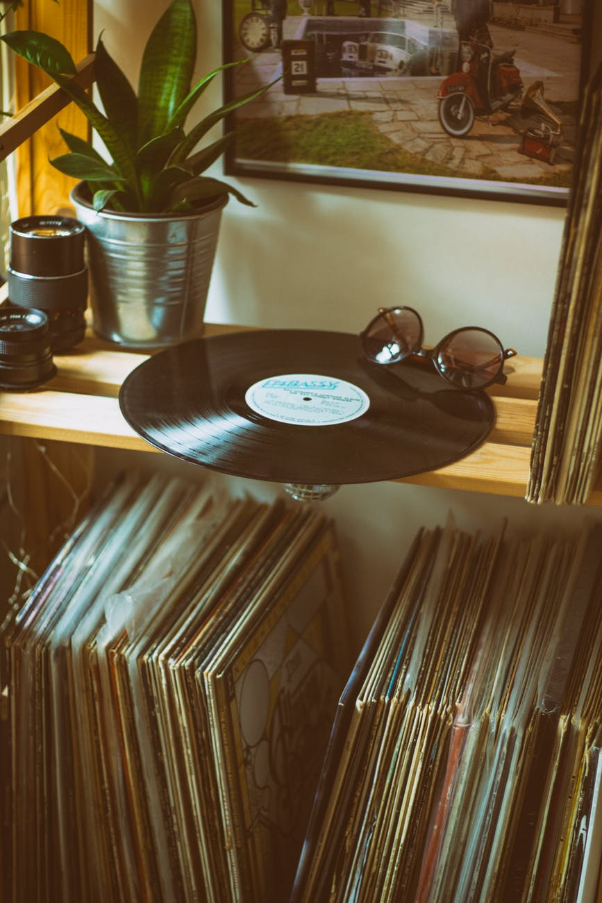 vinyl disc on top of shelf